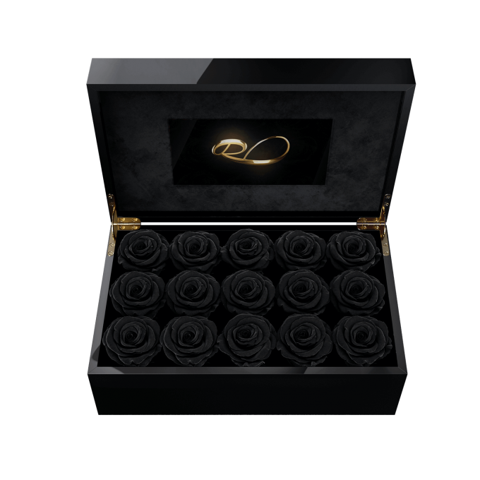 Video screen flower box Gala with 15 Preserved Black Roses