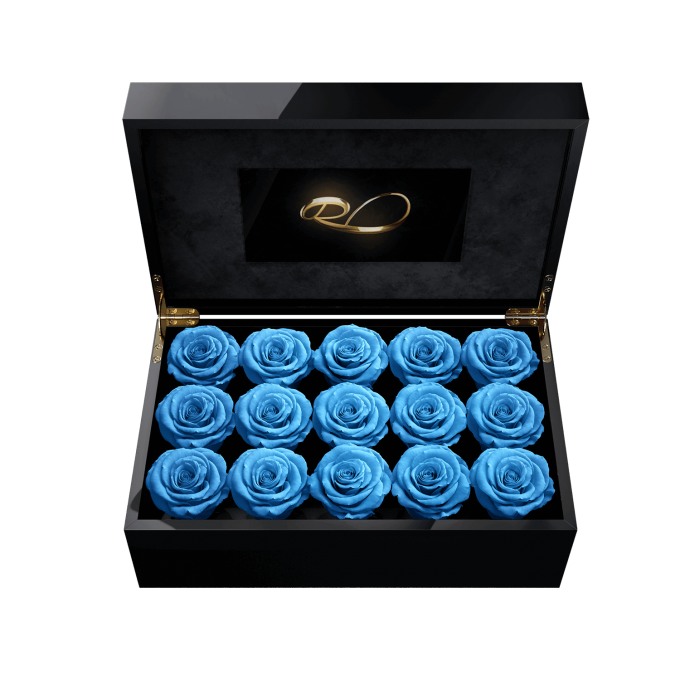 Video screen flower box Gala with 15 Preserved Blue Roses