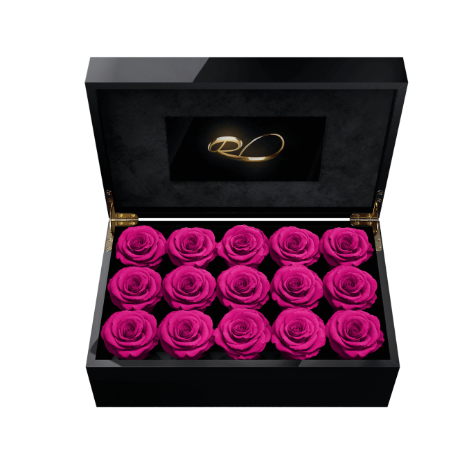 Video screen flower box Gala with 15 Preserved Fuchsia Roses