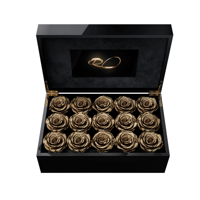 Video screen flower box Gala with 15 Preserved Gold Roses