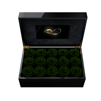 Video screen flower box Gala with 15 Preserved Dark Green Roses