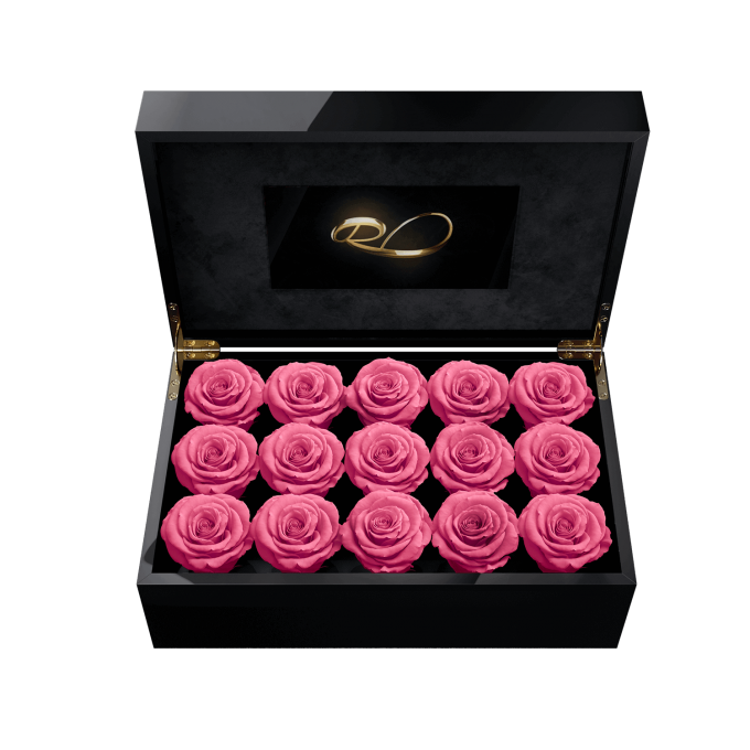 Video screen flower box Gala with 15 Preserved Pink Roses