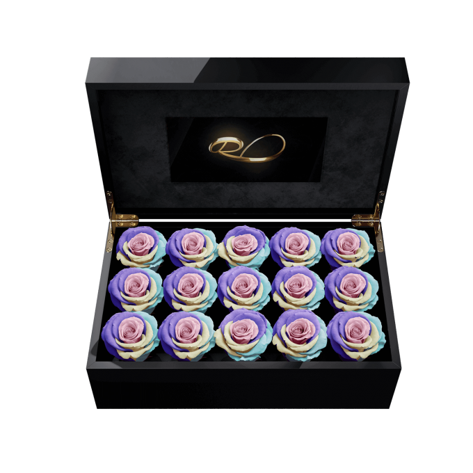 Video screen flower box Gala with 15 Preserved Rainbow Roses