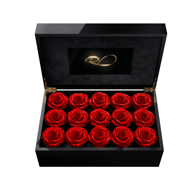 Luxury LCD display flower box Gala with 15 Preserved Red Roses