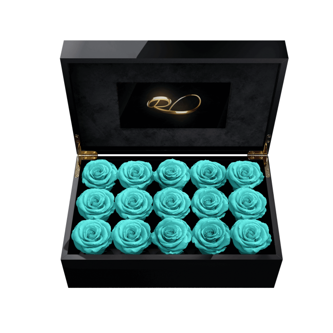 Video screen flower box Gala with 15 Preserved Turquoise Roses