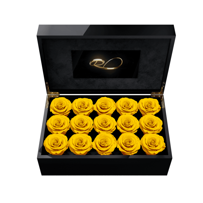 Video screen flower box Gala with 15 Preserved Yellow Roses