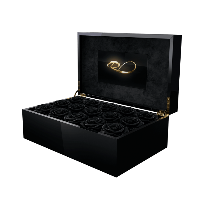 Luxury video flower box Gala with 15 Preserved Black Roses