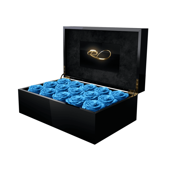 Luxury video flower box Gala with 15 Preserved Blue Roses