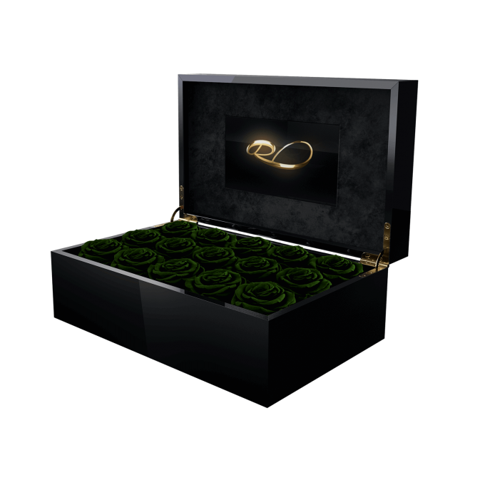 Luxury video flower box Gala with 15 Preserved Dark Green Roses