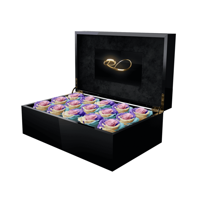 Luxury video flower box Gala with 15 Preserved Rainbow Roses