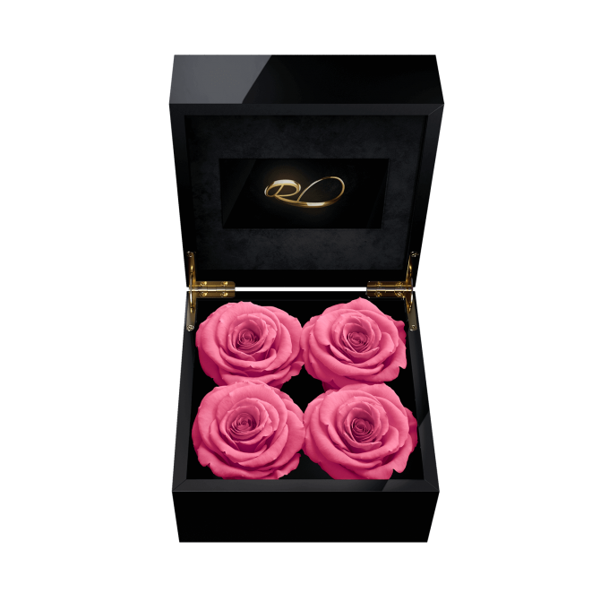 Luxury video flower box Majestic IV with 4 Preserved Pink Roses