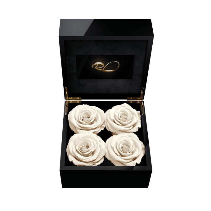 Luxury video flower box Majestic IV with 4 Preserved White Roses