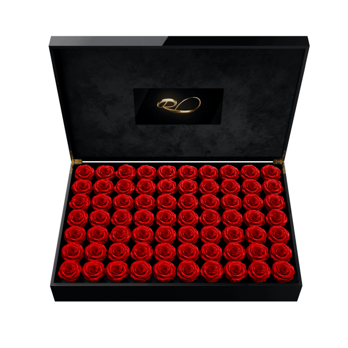 Luxury video flower box Presidential with 70 Preserved Red Roses