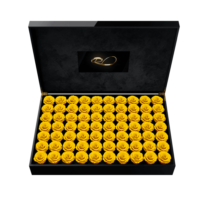 Luxury video flower box Presidential with 70 Preserved Yellow Roses
