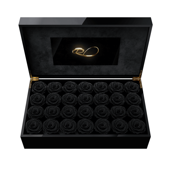 Luxury LCD display flower box Royal with 28 Preserved Black Roses