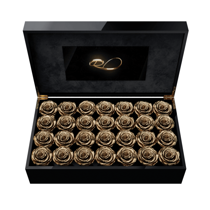 Luxury LCD display flower box Royal with 28 Preserved Gold Roses
