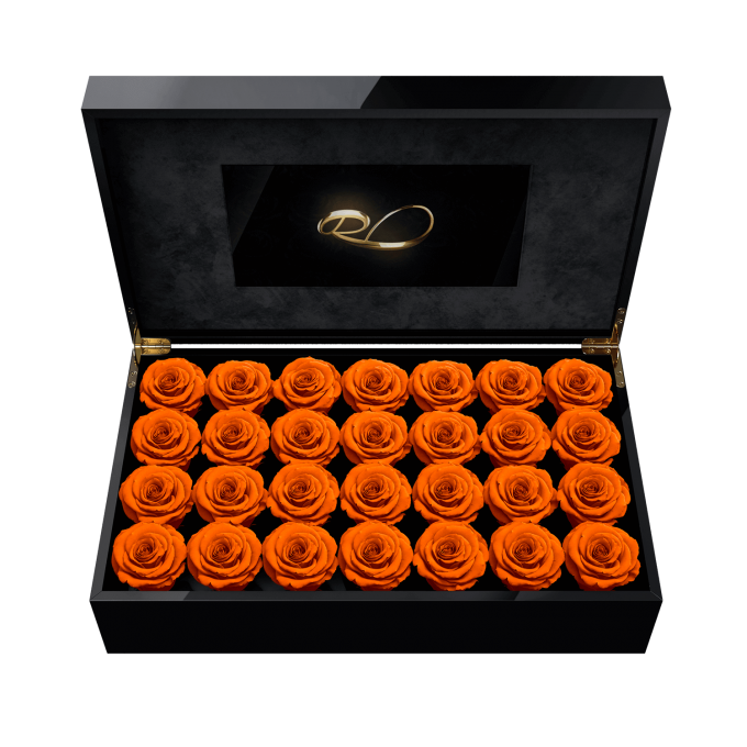 Luxury LCD display flower box Royal with 28 Preserved Orange Roses