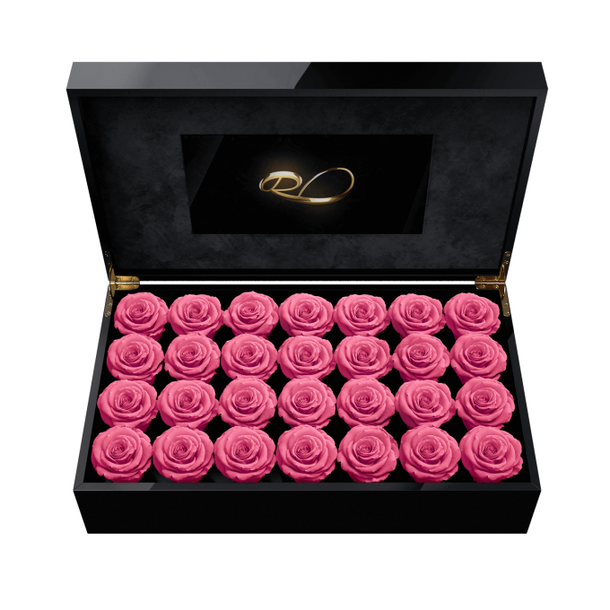 Luxury LCD display flower box Royal with 28 Preserved Pink Roses
