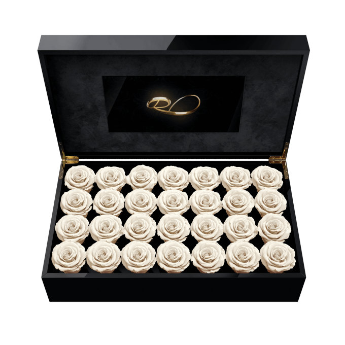 Luxury LCD display flower box Royal with 28 Preserved White Roses