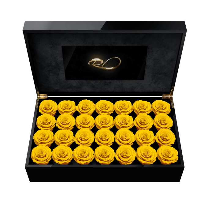 Luxury LCD display flower box Royal with 28 Preserved Yellow Roses