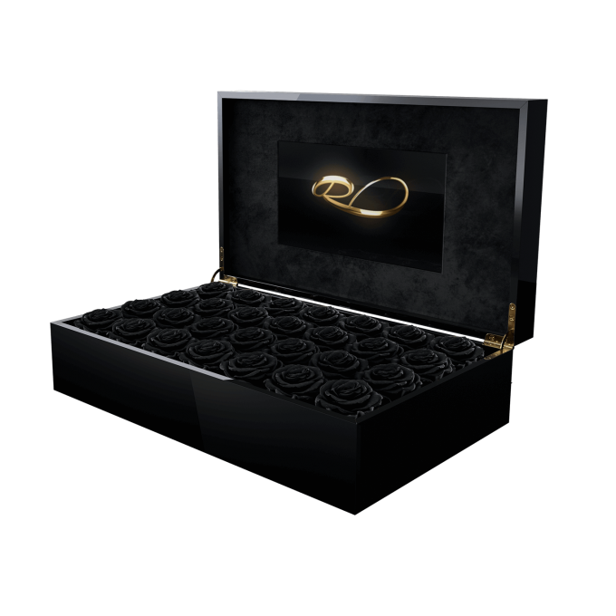 Luxury video flower box Royal with 28 preserved Black Roses